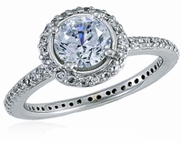 Hamilton 1 Carat Round Cubic Zirconia Micro Pave Set Halo Eternity Engagement Ring