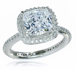 Hamilton 2.5 Carat Cushion Cut Square Cubic Zirconia Micro Pave Set Round Halo Eternity Engagement Ring
