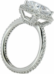 Hamilton 4 Carat Elongated Cushion Cut Cubic Zirconia Micro Pave Set Round Halo Eternity Engagement Ring