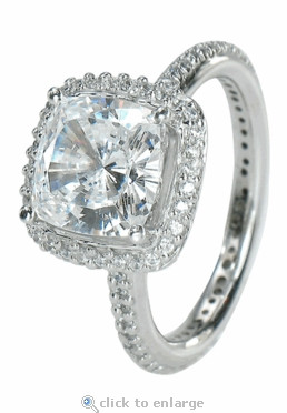Hamilton 5.5 Carat Cushion Cut Square Cubic Zirconia Micro Pave Set Round Halo Eternity Engagement Ring