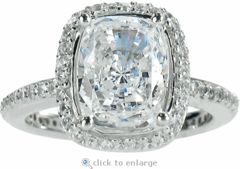 Hamilton 5.5 Carat Elongated Cushion Cut Cubic Zirconia Micro Pave Set Round Halo Eternity Engagement Ring