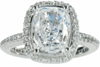 Hamilton .75 Carat Elongated Cushion Cut Cubic Zirconia Micro Pave Set Round Halo Eternity Engagement Ring