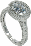 Harlie 2 Carat Round Cubic Zirconia Pave Set Halo Solitaire Engagement Ring