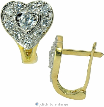 Hartman Heart Cubic Zirconia Halo Style Leverback Earrings