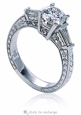 Hawthorne Antique Style Engraved Cubic Zirconia 1 Carat Round and Baguette Solitaire