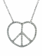 Heart of Peace Sign Pave Set Round Cubic Zirconia Necklace