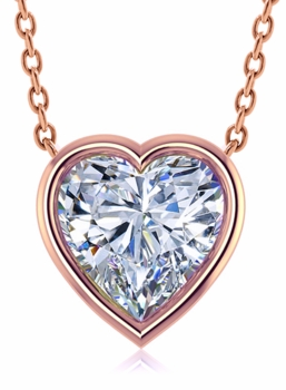 Heart Shape Bezel Set Cubic Zirconia Solitaire Pendants