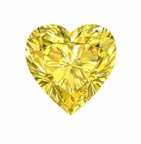 Heart Shape Canary Yellow Diamond Look Cubic Zirconia Loose Stones
