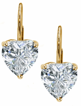 Heart Shape Cubic Zirconia Leverback Earrings