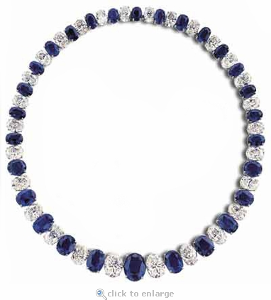 Helena Graduated Oval Cubic Zirconia Alternating Man Made Sapphire Statement Tennis Necklace