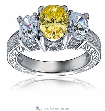 Historica 1.5 Carat Three Stone Oval Cubic Zirconia Antique Engraved Ring