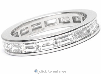 Horizontal Channel Set Baguette Cubic Zirconia Eternity Band