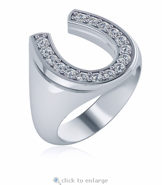 Horseshoe Pave Set Cubic Zirconia Mens Ring