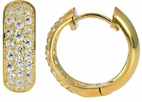Hubolt Wide Cubic Zirconia Pave Set Huggie Hoop Earrings