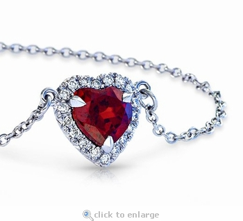Hyland 1 Carat Heart Shape Cubic Zirconia Halo Pendant Necklace