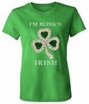 I'm Bling'n Irish St. Patrick's Day Emerald And Diamond Look Clover Shamrock Printed T-Shirt