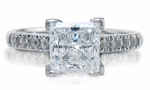 Impresso 1.5 Carat Princess Cut Cubic Zirconia Pave Cathedral Solitaire Engagement Ring