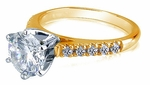 Impresso 1.5 Carat Round Cubic Zirconia Cathedral Pave Solitaire Engagement Ring