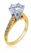 Impresso Cathedral Style 1.5 Carat Center Round Cubic Zirconia Pave Engagement Ring