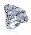 Indeco Three Stone Round Cubic Zirconia Antique Art Deco Milgrain Ring