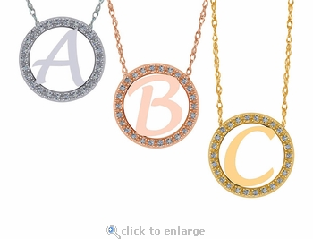 Initial Circle Cubic Zirconia Halo Charm Necklace