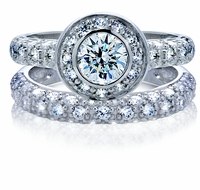 Innova 1 Carat Bezel Set Round Cubic Zirconia Pave Halo Wedding Set
