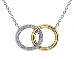 Couples Interlocking Double Open Circle Two Tone Pave Marriage Pendant Necklace