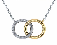 Couples Interlocking Double Open Circle Pave Marriage Pendant Necklace
