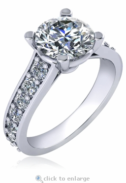 Isabella 2 Carat Cubic Zirconia Round Four Prong Graduated Pave Cathedral Solitaire Engagement Ring