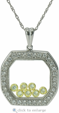 Isis Floating Bezel Set Round Framed Cubic Zirconia Pendant