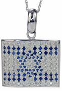 Israeli Flag Man Made Sapphire and Pave Set Round Cubic Zirconia Pendant
