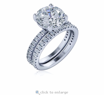Izabel 3.5 Carat Round Four Prong Cubic Zirconia Micro Pave Wedding Set