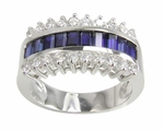 Jazz Channel Set Man Made Sapphire Baguette and Round Cubic Zirconia Anniversary Band