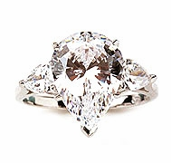 Jessica Pear Cubic Zirconia Solitaire Engagement Three Stone Rings