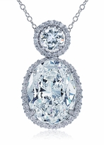Jubilee 12 Carat Oval Cubic Zirconia Estate Style Round Halo Pendant