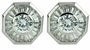 Kaleidoscope 1 Carat Cubic Zirconia Bezel Set Round Baguette Halo Earrings