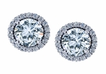 Kalliope 1 Carat Each Round Cubic Zirconia Pave Halo Earrings
