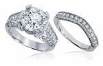Kallisto Round Cubic Zirconia Pave Set Cathedral Milgrain Bridal Wedding Set
