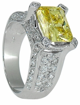 Kandie 4 Carat Emerald Radiant Cut Canary Cubic Zirconia Pave Engagement Ring