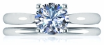 Kartina 1.5 Carat Round Cubic Zirconia Four Prong Cathedral Solitaire with Matching Band Wedding Set