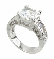 Katarina 4 Carat Cushion Cut Cubic Zirconia Split Prong Set Solitaire Engagement Ring