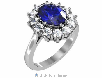 Kate Middleton 1.5 Carat Oval Man Made Sapphire Gemstone Halo Cluster Cubic Zirconia Engagement Ring