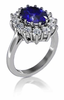 Kate Middleton 2.5 Carat Oval Man Made Sapphire Gemstone Halo Cluster Cubic Zirconia Engagement Ring
