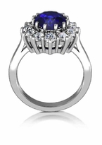 Kate Middleton 3.5 Carat Oval Man Made Sapphire Gemstone Halo Cluster Cubic Zirconia Engagement Ring
