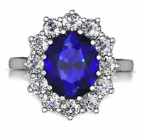 Kate Middleton 4 Carat Oval Man Made Sapphire Gemstone Halo Cluster Cubic Zirconia Engagement Ring