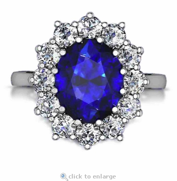 Kate Middleton 5.5 Carat Oval Man Made Sapphire Gemstone Halo Cluster Cubic Zirconia Engagement Ring