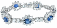 Kate Middleton Cubic Zirconia Round and Oval Man Made Sapphire Royal Bracelet