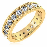 Kenley Twisted Rope Round Prong Set Cubic Zirconia Eternity Wedding Band