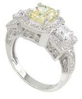 Kenton 1 Carat Princess Cut Square Center Cubic Zirconia Three Stone Halo Ring