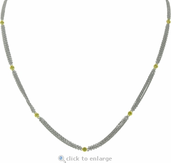 Kinale 18K Two Tone Bezel Set Canary Cubic Zirconia Three Strand Station Necklace